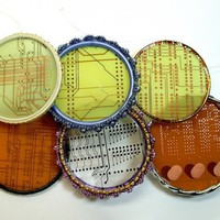 RECYCLED CIRCUIT BOARD Stocking Stuffer Sun Catcher Ornaments pkg1 | ThreeRingCircuits - Housewares on ArtFire