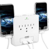 RND Power Solutions Wall Power Station includes 3 AC Plugs and 2 USB ports with Surge Protection. Also includes 2 slide-out holders for your Smartphone