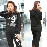 Casual Womens Hoodies Tracksuits Sweat Suit Letters Hooded Pants Outerwear