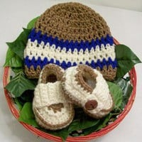 Baby Boy Loafers and Cap Crochet03MBaby Shower gift by fabricsanddesignsbybarb on Zibbet