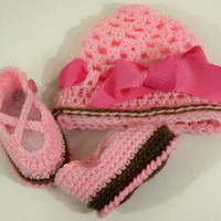 CrochetBooties and CapCrochet Made in the USABaby Shower Gift36M by fabricsanddesignsbybarb