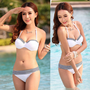 Latest Womens Bikini Set Underwire Halter Striped Top Bottom Shorts Swimwear