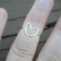 Toe Ring, Knuckle Ring, Midi Ring, Wire Ring, Wire Wrapped Ring Heart