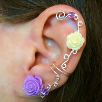 Non Pierced Cartilage Cuff  &quot;Roses are Feminine&quot; Ear Conch Cuff Color Choices Wedding Prom Quinceanera