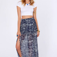 Set You Free-quency Navy Blue Print Maxi Skirt