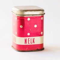 Polka dotted red silver tin canister clove box Soviet time