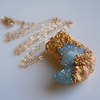 SPIRIT QUARTZ Aqua Aura Druzy Necklace Aqua Blue by 443Jewelry