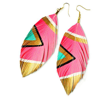 Neon Aztec Electric Pink Faux Leather Feather by lovesexton