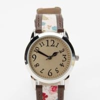 UrbanOutfitters.com &gt; Ditsy Floral &amp; Leather Watch