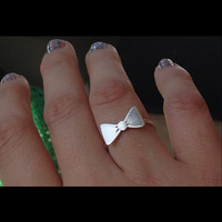 Sterling silver SMALL BOW ring...handmade artisan committed girls jewelry Elisa Daphne etsy