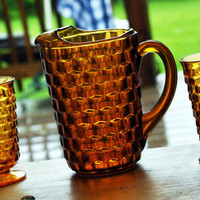 Vintage Pitcher W/Glasses Set-Tea Pitcher-Water Pitcher Vintage Set-Golden Amber-Depression Glass Pattern-Diamond Point Cube Glass