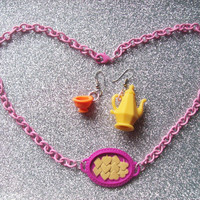 Mad Tea Party - Set of Earrings and Necklace