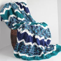 Afghan - Handmade Ripple Crochet Blanket - Peacock Blues and Teals