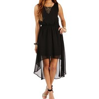 Pre-Order: Black High Low Criss Cross Back Dress
