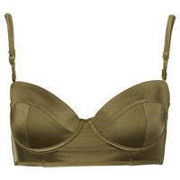 Olive Longline Bikini Top - New In This Week - New In - Topshop