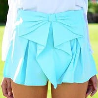 Aqua Large Bow Front Shorts with Pleat Detail
