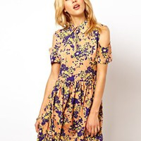 ASOS Shirt Dress With Cold Shoulder In Floral Print at asos.com