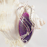 Wire Wrapped Purple Dragon Vein Pendant, Gemstone, Handcrafted Jewelry