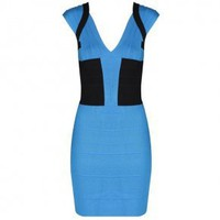 Bqueen Angled Bandage Colorblock Dress Blue H049L - Designer Shoes|Bqueenshoes.com