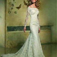 [305.99] Stunning Lace Mermaid Off-the-shoulder Neckline Long Sleeves Wedding Dress - Dressilyme.com