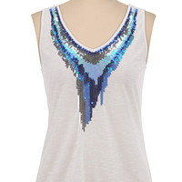 Embellished Sequin Neck Tank