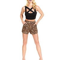 Marilyn Monroe Sleeveless Crop Top & High-Waist Animal-Print Shorts - Juniors Marilyn Monroe - Macy's