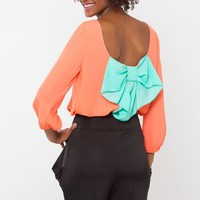 Peach Top with Turquoise Bow @ Cicihot Top Shirt Clothing Online Store: Dress Shirt,Sexy Womens Shirt,T Shirts,Corset Dress,White T Shirt,Girl T Shirt,Short sleeve top,Sexy Shirts