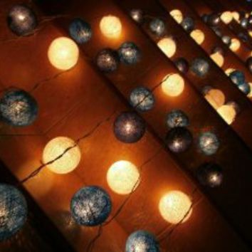 Blue Mixed Set 35 of Cotton Balls String Lights Patio Wedding and Home Decorate By I Love Handicraft (35 Balls/set)