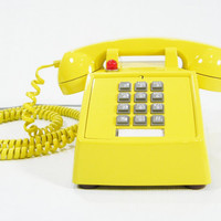 Vintage Phone YELLOW Upcycled Hotel push button telephone
