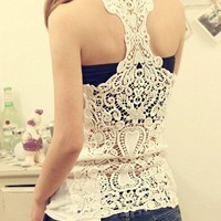 Bottoming Vest Back Lace Crochet from allcharming