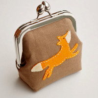 Fox Purse Linen Small Fabric Coin Purse by BrooklynLoveDesigns