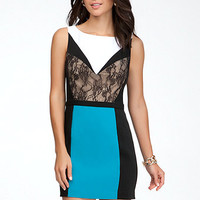 Colorblock Lace Panel Dress
