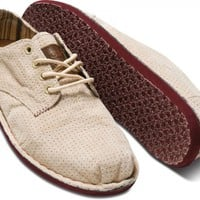 Taupe Perforated Suede Men's Desert Oxfords