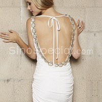White Sheath/Column V-neckline Mini Chiffon Cocktail Dress-SinoSpecial.com