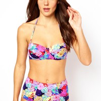 ASOS Penelope Floral Padded Longline Bikini Top