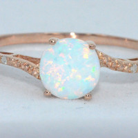 Opal Diamond Ring 14Kt Rose Gold Plated