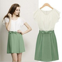 Bowknot is short sleeve dress