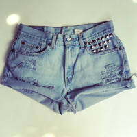 High Waisted Studded Levi's Denim Shorts