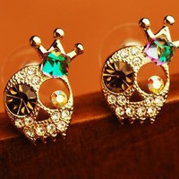 Full skull rhinestone crown  earrings
