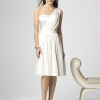 One Shoulder With Satin Bodice and Belt Chiffon Bridesmaid Dress BD0385