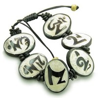 Amulet Original Tibetan Mantra Om Mani Padme Hum Natural White Bone Magic Secret Adjustable Bracelet