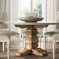 Salvaged Wood & Weathered Concrete Trestle Tables | Restoration Hardware