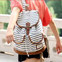 fancybuy  white and blue black vivi retro stripe zebra backpack bag