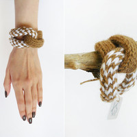 Knitted Fiber Bracelet In Beige And White, Alpaca Wool Wrapped Women Bangle