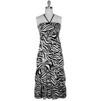 Zebra Print Black & White Long Maxi Halter Sun Dress