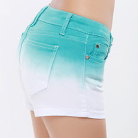 Gradient Color Denim Shorts/ Green