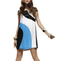 Jessie G. Women's Multi-color Diagonal Blocked Dress - Medium