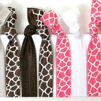 Animal Print Hair Tie - Fabric No Dent Hair Tie - Emi Jay Style Brown & Pink Giraffe Hair Bands - Soft Stretchy Yoga Hair Ties Grab Bag