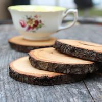 Wood coaster set by madewithlog on Etsy