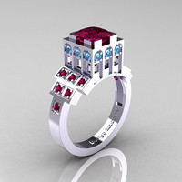 Modern Industrial 14K White Gold 1.23 CT Princess Red Garnet Blue Topaz Bridal Ring R316-14KWGBTRG